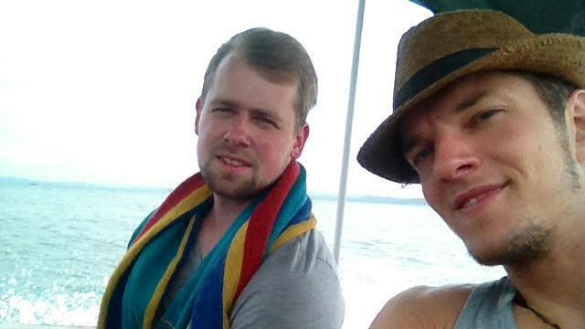 Sven und Martin im Wassertaxi auf Bocas del Toro